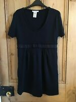 PAUL & JOE SISTER Navy Blue Merino Wool Mix Jumper TUNIC Top Pockets Dress UK 14