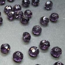20 perles 8x6mm à facettes en verre mauve indigo //11