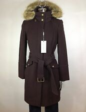Andrew Marc NWT Brown Wool-blend natural Coyote fur belted coat knee length 2, 4