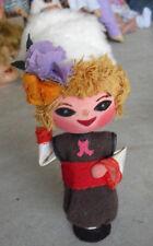 """Unusual Old Wood Big Head Ethnic Girl Doll 6 1/2"""" Tall"""