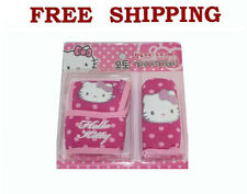 New Sanrio Pink Polka Dots Hello Kitty Shift & Hand Brake Cover For Car Truck