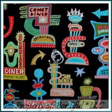BonEful Fabric FQ Cotton Quilt Retro Diner Car Restaurant Route 66 Kitchen Cook