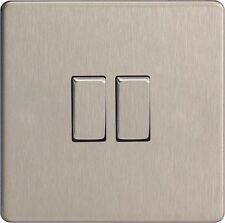 Varilight intermediate 10 Amp Switch with Brushed Steel  1 2 gang XDS7 S