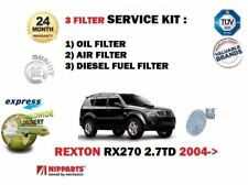 FOR SSANGYONG REXTON RX270 2.7DT 2004-> OIL AIR + DIESEL FUEL FILTER SERVICE KIT