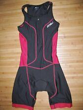 2XU TriSuit TRIATHLON Women SMALL Poly Spandex TRI Skin Suit BLACK with RED