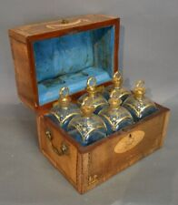 Antique French Tantalus Box With Set of 6 Baccarat Crystal Cordial Decanters