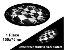 Oval fundido en negro B&W Bandera a Cuadros Vinilo Coche de Carreras Bicicleta Pegatina Calcomanía 150mm