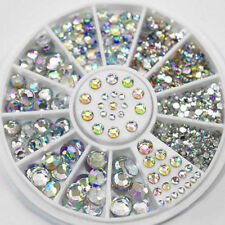 Dazzling 3D Glitter Rhinestone Crystal Nail Art Tips Gems Decoration Wheel 2018