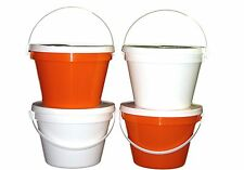4 One Gallon Buckets Lids 2 ea Orange White Made in America Lead Free Food Safe