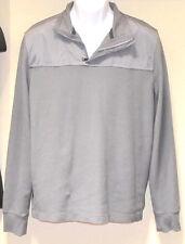 Mens Banana Republic Long Sleeve Woven Gray Sweater Zip Collar Polo Shirt L GUC