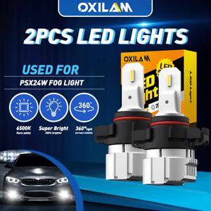 CANBUS 2504 PSX24W LED Fog Light Bulbs 6500K White DRL Error Free Super Bright