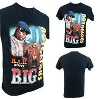 NOTORIOUS B.I.G.-Biggie -Blacklight-Reguler Fit Men/'s Black T Shirt 1972-1997