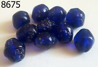 Lot 10 Vintage PYU Blue Dark Islamic Mosaic Bicone Glass Bead Old Handmade #8675