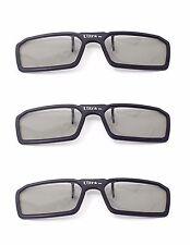 New 3 Pairs of Black 3D Clip on 3d Glasses Passive 3d Tvs Cinema 3D RealD Imax