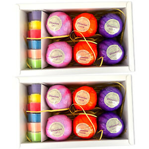 (2 PACK) 6 Bubble Bath Bombs 6 Candles GIFT Natural Dry Flowers Essential Oils