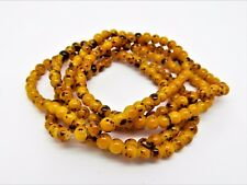 Yellow Brown Mottled Glass 4mm Round Beads One Strand (200+ Beads) P00111XF