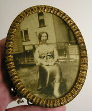 Antique Aesthetic Eastlake Victorian Small Oval Brass Picture Frame 3x4 FN & Co