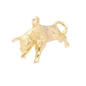 9Carat Yellow Gold Solid Bull Charm (23x12mm)