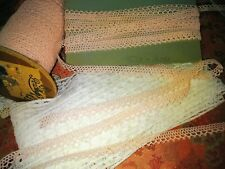 "Tiny Peach Vintage Victorian machine Crochet Picoted edging 5 yards 3/8"" wide"