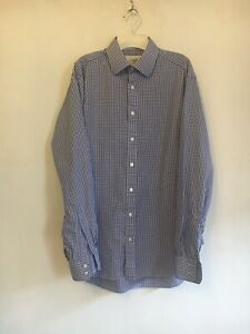"Charles Tyrwhitt, Blue White Check Cotton-Single Cuff Shirt.  16"" Worn Twice"