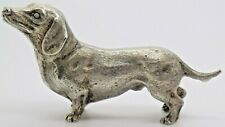 More details for vintage solid silver italian made dachshund dog statue hallmarked figurine