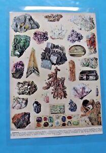 Gravure de presse plastifié print Minéraux Pierre précieuse or aigue-marine