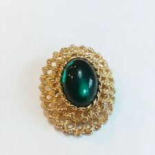 Gold Tone Oval G10 Green Acrylic Cabochon Pin Brooch