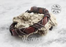 "Leather Viking ""X"" Bracelet - Adjustable Size - Wrist Band/Cuff/Jewelry/Norse"