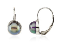 """Pearl Leverback Earrings 14K Yellow or White Gold """"Tahitian"""" Gray Color Pearls"""
