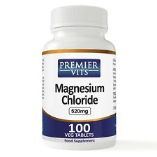 Magnesium Chloride, Tabs, 520mg x 100 VTabs,PremierVits,Made in UK,24hr dispatch