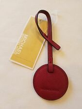 Michael Kors Women's Cherry Circle Leather Monogram Key Chain Hang Tag