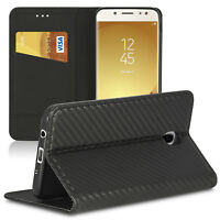 Handy Schutzhülle für Samsung Galaxy J7 2017 Carbon Tasche Case Etui Flip Cover
