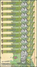 Turkmenistan 1 Manat X 10 Pieces (PCS), 2014, P-NEW, UNC