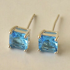 Pretty New Silver White Gold Filled 7mm Sky Blue Square CZ Stud Post Earrings