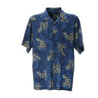 Herren Freizeit Shirt Größe XL Muster Print Hemd Blau Retro Vintage Kurze Ärmel