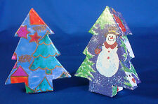 """2 decorated inside & out Christmas Tree treasure gift boxes with lids 4½"""""""