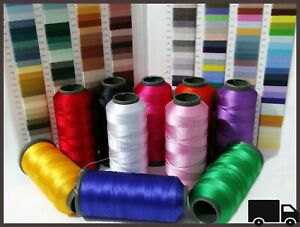 10 Colors Large Silk Rayon Cone Sewing All Machine Embroidery Strong Thread Reel