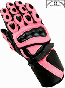 LADIES PINK HIGH QUALITY CE WOMENS MOTORBIKE MOTORCYCLE MOTOCROSS LEATHER GLOVES
