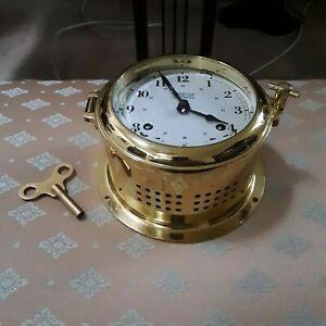 Weems & Plath Martinique 8-Day Wind Brass Ships Bell Clock w/ key Germany