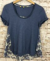 Little Yellow Button Anthropologie blue floral swing top shirt womens small F5