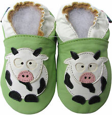 shoeszoo cow green 6-12m S soft sole leather baby shoes