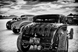 12x18 in Man Cave Poster  1930's Salt Flat Ford Roadsters, Hot Rod Garage Art