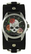 Nemesis Skull and Roses Watch with Faded Black Ring Leather Cuff Band Vintage