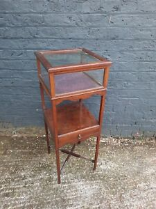 Vintage Tall Wooden Plant Stand with Glass display unit slight crack in glass