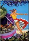 "Vintage Illustrated Travel Poster CANVAS PRINT ~ Cuba Dancer Drums 8""X 12"""