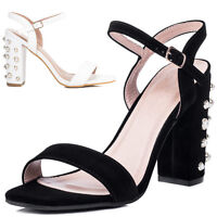 Womens Embellished Pearl High Heel Strappy Sandals Shoes