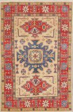 IVORY Kazak Geometric Oriental Area Rug Hand-Knotted Sun-room Wool Carpet 4'x6'
