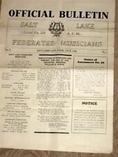 Vintage Salt Lake City Musicians Union Vintage Bulletin 1926