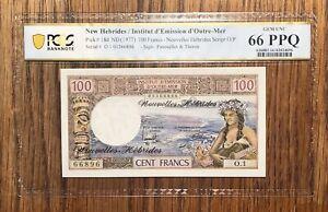 New Hebrides P 18d 100 Francs PCGS 66 PPQ Gem Unc - Top Pop 1/0