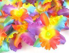 8 Rainbow Hawaiian Cattleya Silk Flower heads Artificial Orchid for Hair clips